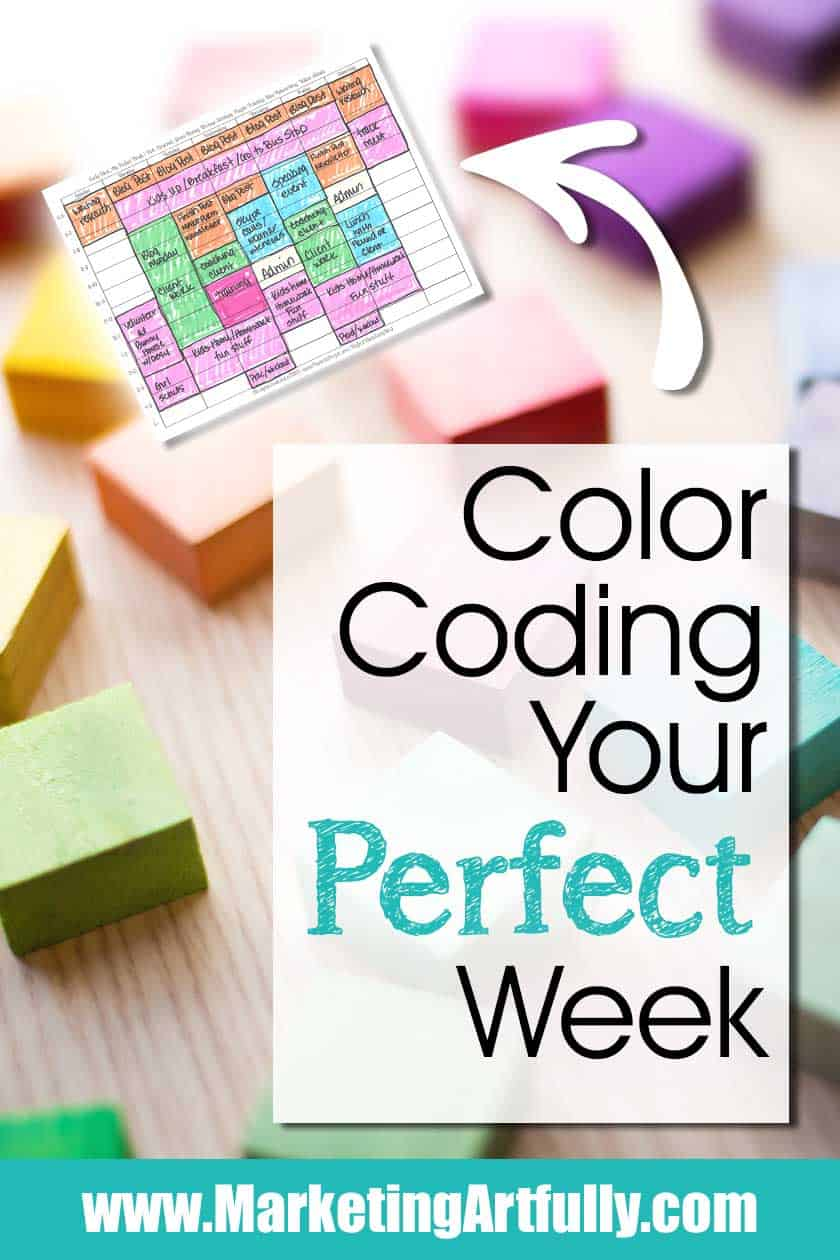 "Color Coding Time Management Tips! Planning Your Perfect Week... A fun template for your business planning! An example layout of how I do my ""perfect week"" plan for my small business. How to make a manageable business week! #timemenagement #planning #colorcoding"