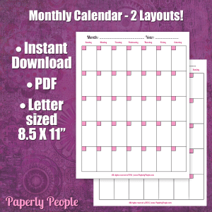 Monthly Calendar Page - 2 Layouts