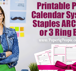 Printable Planner Calendar System For Staples ARC System or 3 Ring Binder