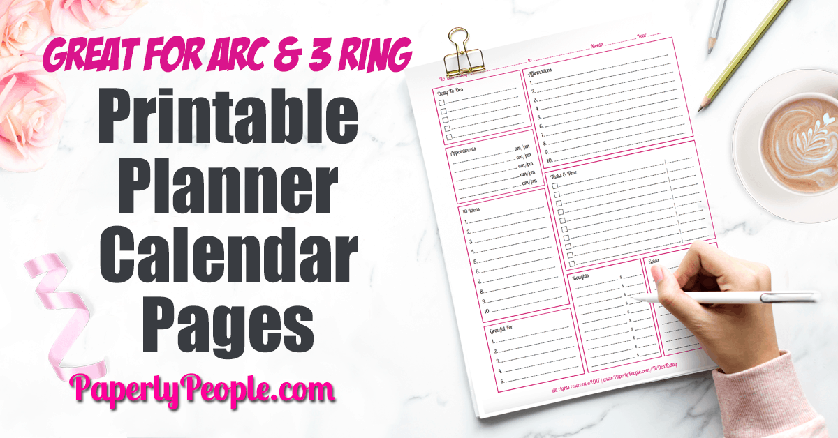 Printable Planner Calendar System For Staples ARC System or 3 Ring Binder... Awesome printable planner pages for personal and business. To do lists and goal setting worksheets. Daily, weekly and monthly calendar and lists pages to help with productivity and success. Great for your DIY Staples ARC or 3 Ring Binder planner. #planner #businessplanner #plannerpages