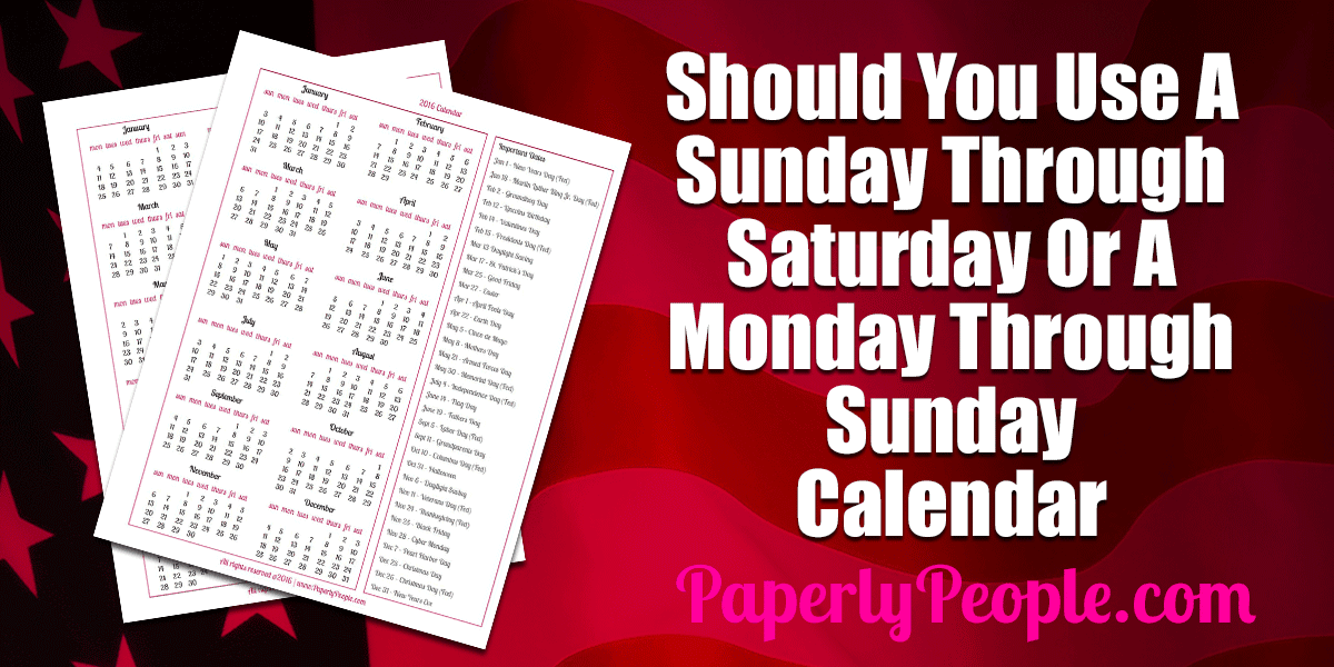 sunday thru saturday calendar