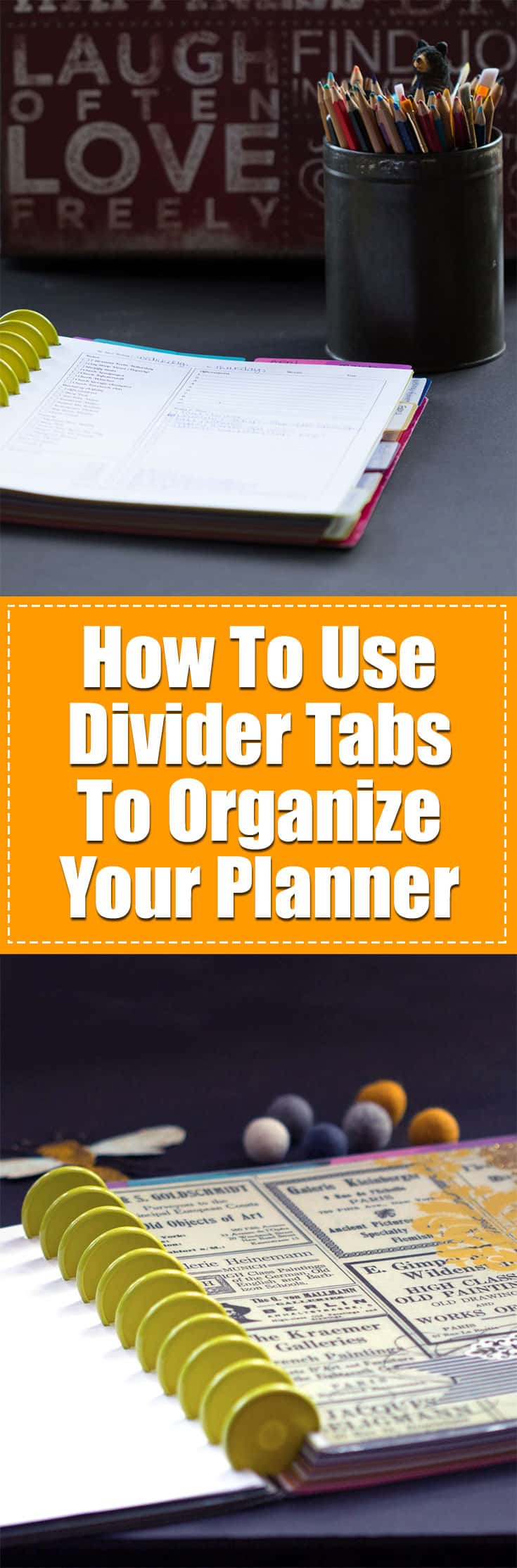 How To Use Divider Tabs To Organize Your Planner | If you are a planner nut like I am, you know that there are a gagillion ways to organize your planner. And for me this changes frequently throughout the year. I might be focusing on Blogging or making a course, doing product photography or writing a book at any given time throughout the year. I have to have a great system for using tab dividers to organize my planner (and my life!) This post will go over some of my strategies and tools that I use. Some are mass produced and some are my own DIY creations, but all add to the effectiveness of my planner!