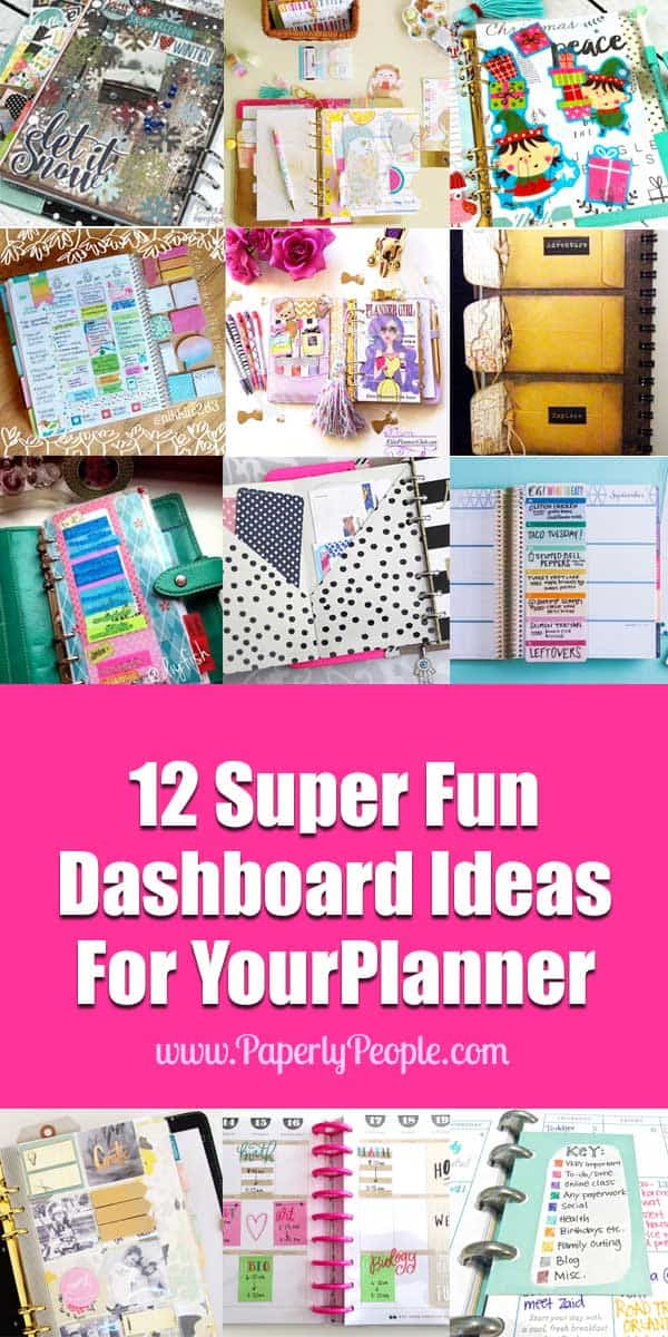 12 Super Fun Dashboard Ideas For Your Planner | I have been thinking about a couple of dashboard ideas for my diy planner and OF course, I wanted to see what all the other creative peeps were doing. Along the way I found some GREAT dashboard ideas and a few that wouldn't work for me but which I thought you might like to see.