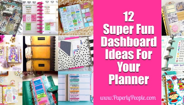12 Super Fun Dashboard Ideas For Your Planner
