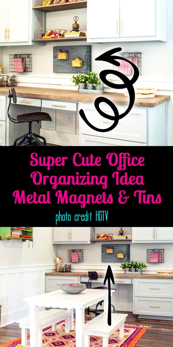 Super Cute Office Organizing - Metal Magnets and Tins - Photo Credit HGTV & Joanna Gaines