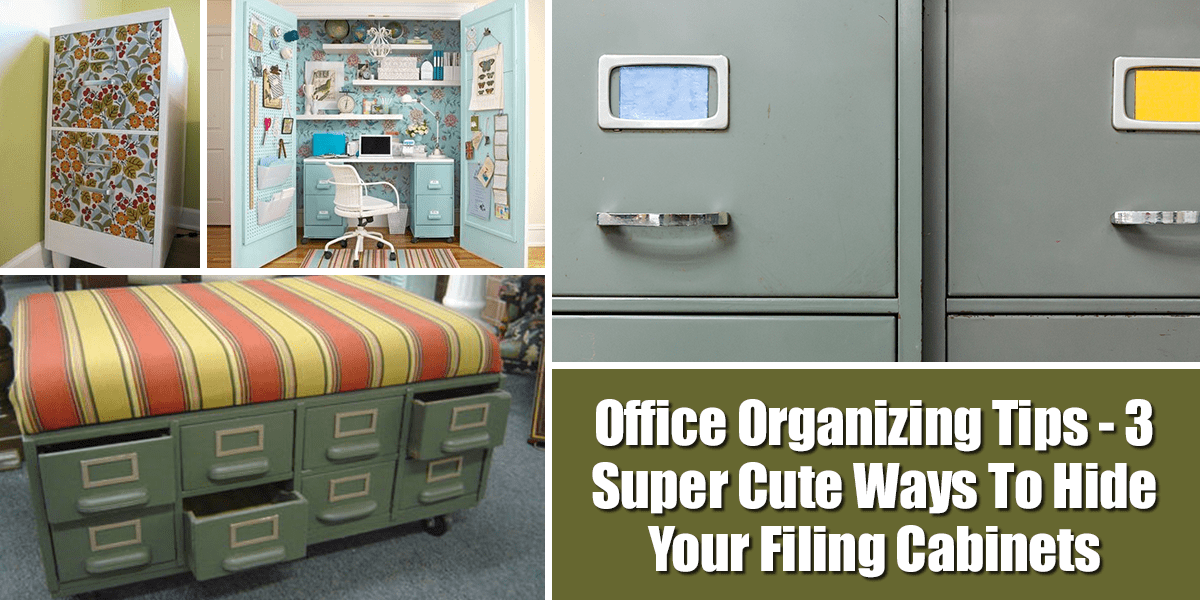 Office Organizing Tips – 3 Super Cute Ways To Hide Your Filing Cabinets | If you need to hide your filing cabinets, here are some great ideas! Painting them to just make them part of your décor can make them blend in, or even make them the focal point of the room.