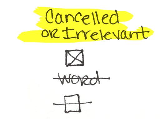 Cancelled or Irrelevant Bullet Journal Tasks