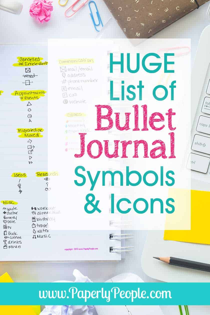 HUGE List of Bullet Journal Symbols and Icons… Ideas and inspiration for your bullet journal planner! Simple list on a printable sheet, great for minimalist planners. #bulletjournal #bujo
