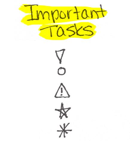 Important Task Symbols for Bullet Journalling