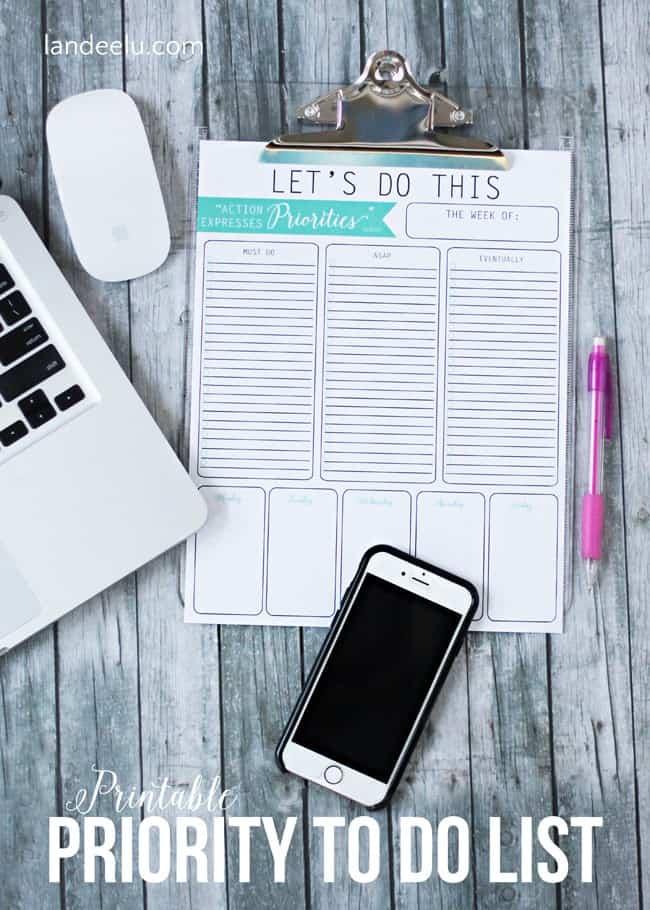 Priorities Printable To Do Lists - Landeelu