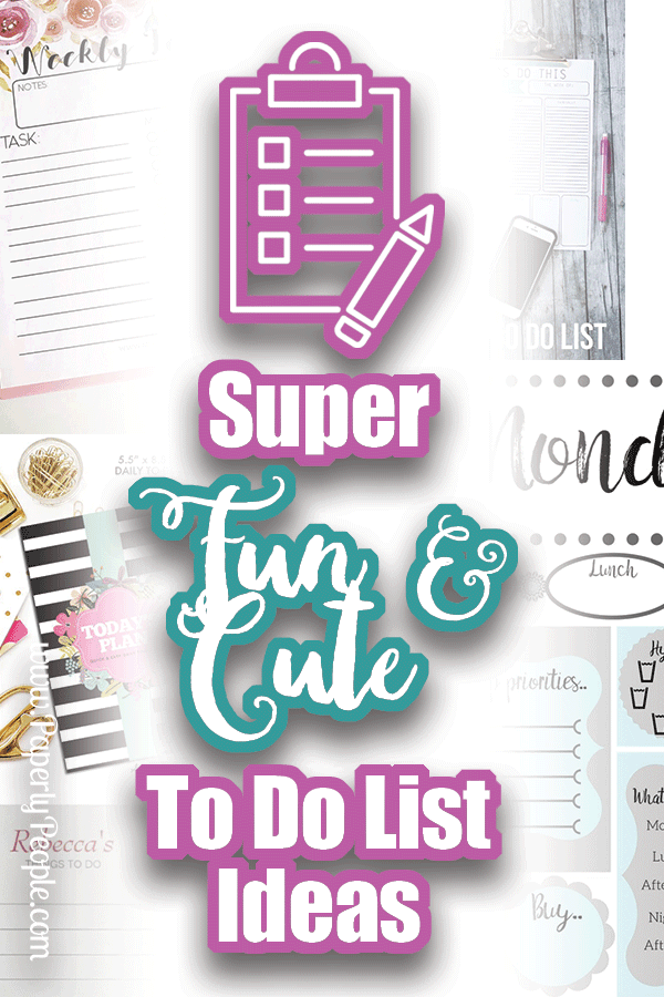 "Super Fun and Cute To Do List Ideas... I love me some ""to do"" lists! My business and life work best when I have clear goals and direction. The thing that makes me most effective is having a short list of things that I need to get done that I can put into my planner (which has a more comprehensive list of things that are ongoing)."