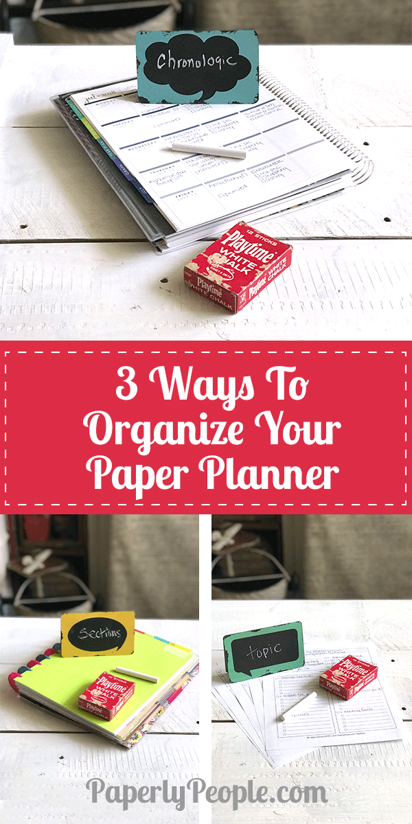 3 Ways to Organize Your Paper Planner...While there thousands of ways to organize your paper planner, I have found three that work especially well for my business and family. Check out my three planner organization strategies...chronological, by topic and by section! Great tips, ideas and examples.