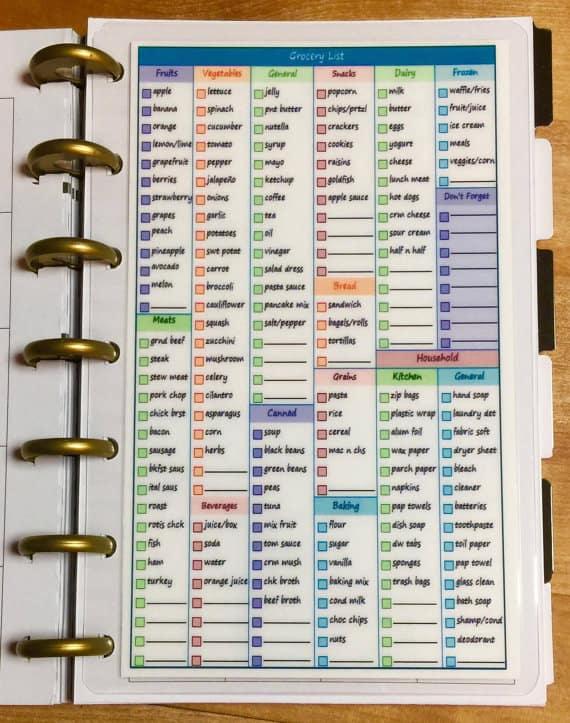 Grocery Planner Checklist