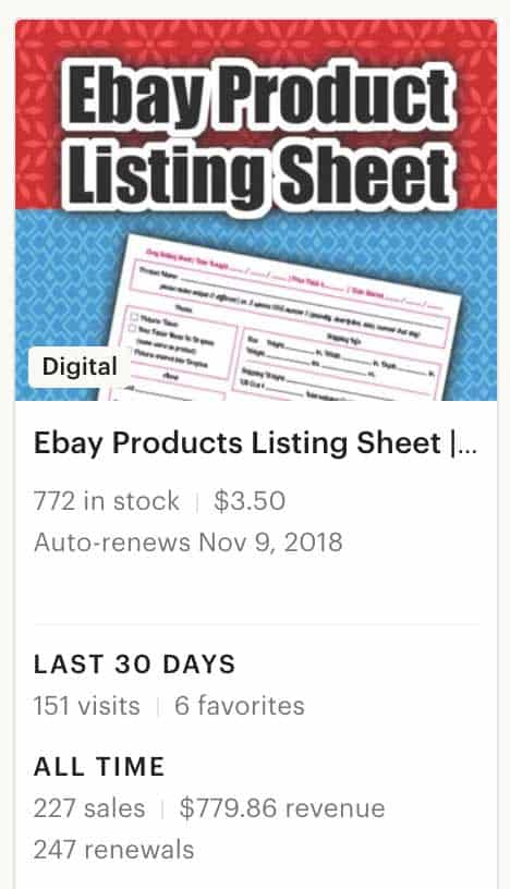 Ebay product listing stats