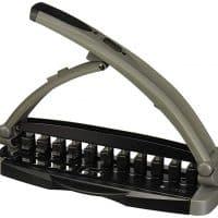Staples Arc Desktop Paper Punch, 8-Sheet Capacity, Black & Gray