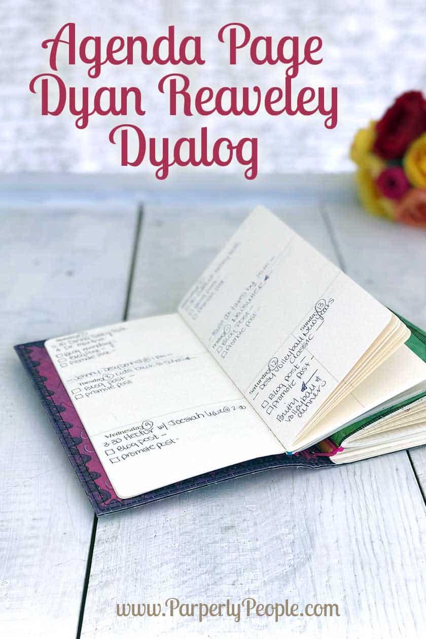 Agenda Calendar Page Dyan Reaveley Dyalog Planner Travelers Notebook. Pre printed weekly spread planner pages.