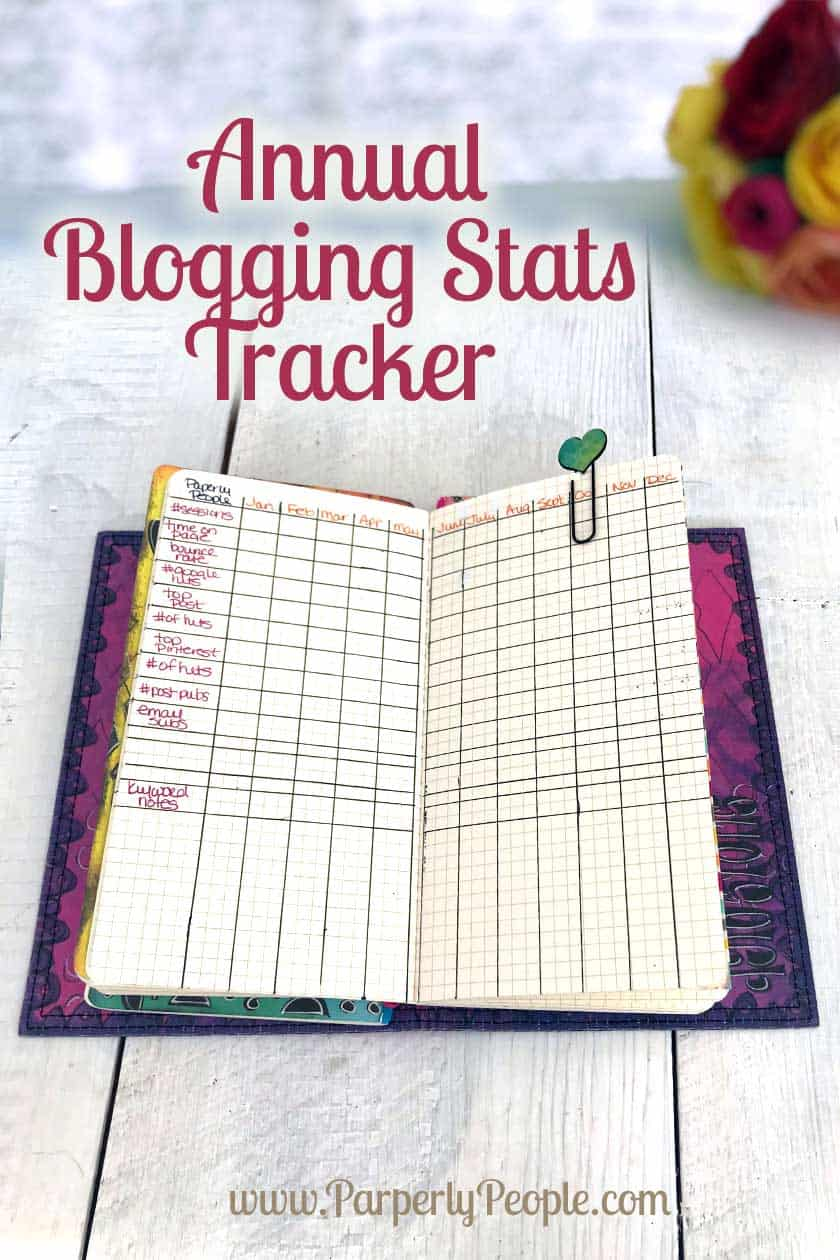 Annual Blogging Stats Tracker Bullet Journal... Part of my DIY travelers notebook blog planner ideas and inspiration.