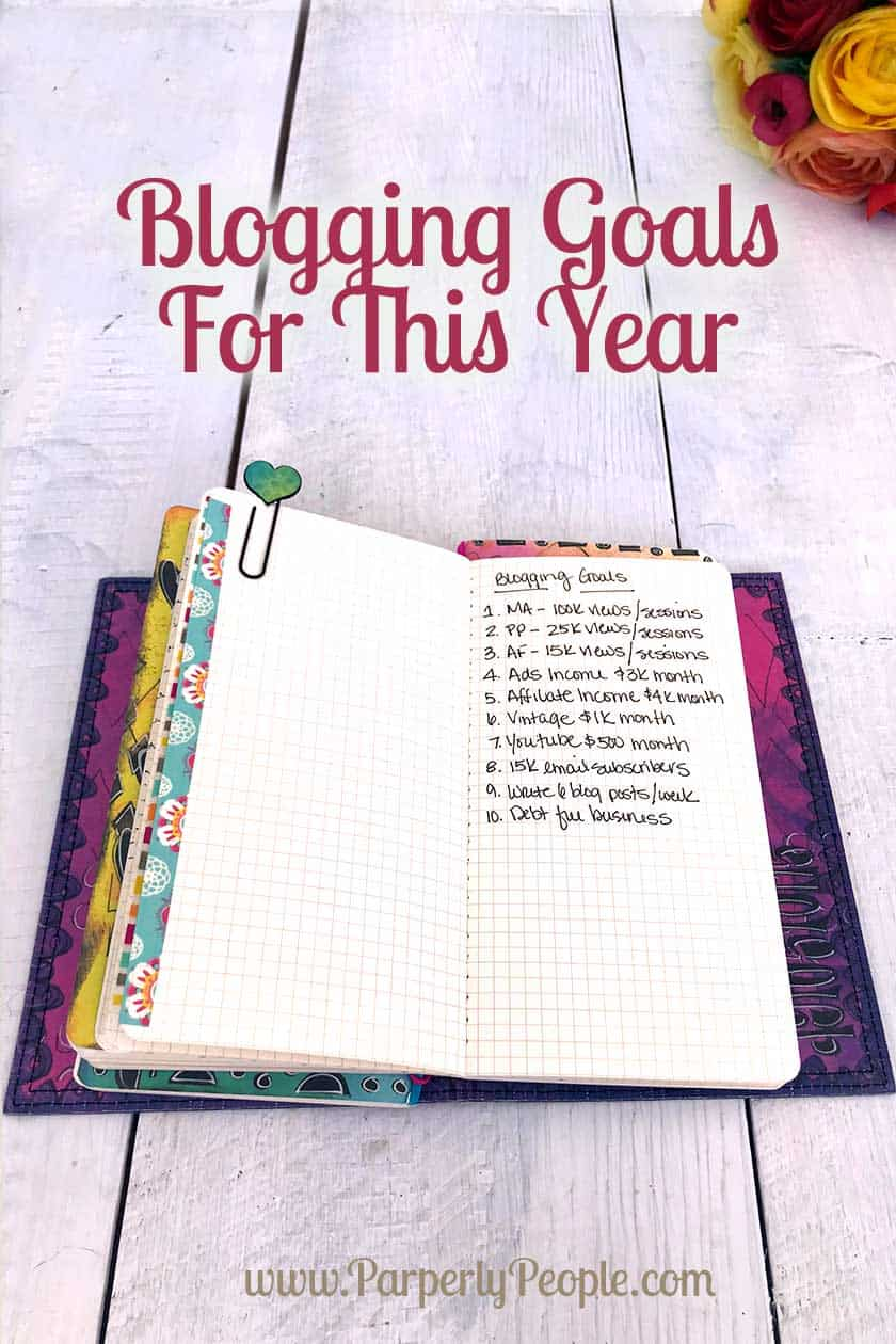 Blogging Goals For This Year - This is my DIY Blog Planner travelers notebook. Ideas and tips for doing your blog planning. #planner #blogplanner
