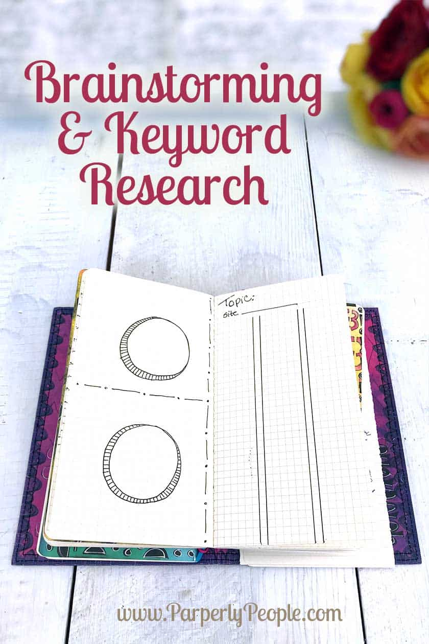 Brainstorming and Keyword Research Bullet Journal Inspiration Page. Part of my Dylusions Travelers Notebook. #bujo