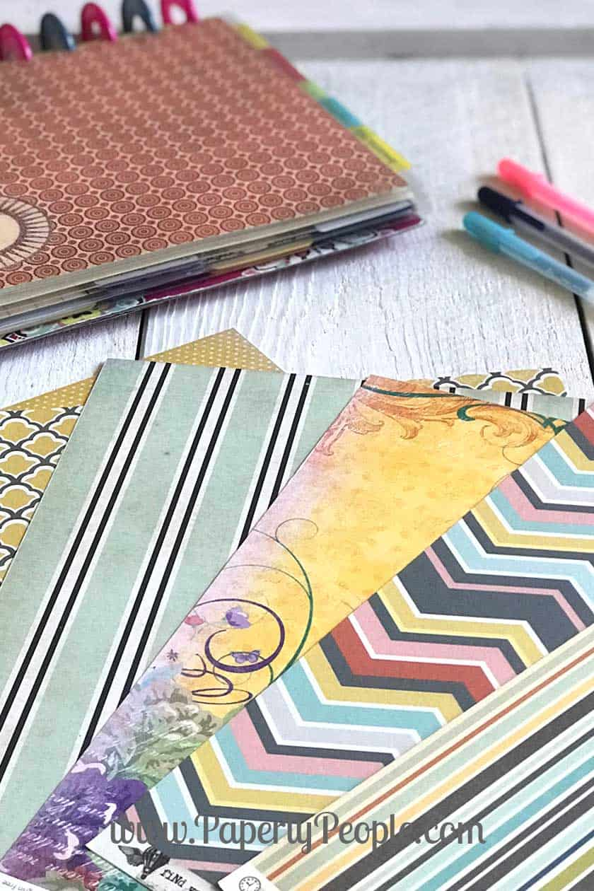 Using scrapbook paper to make ARC planner dividers. All my best tips and ideas for making planner accessories. #diyplanner #discplanner