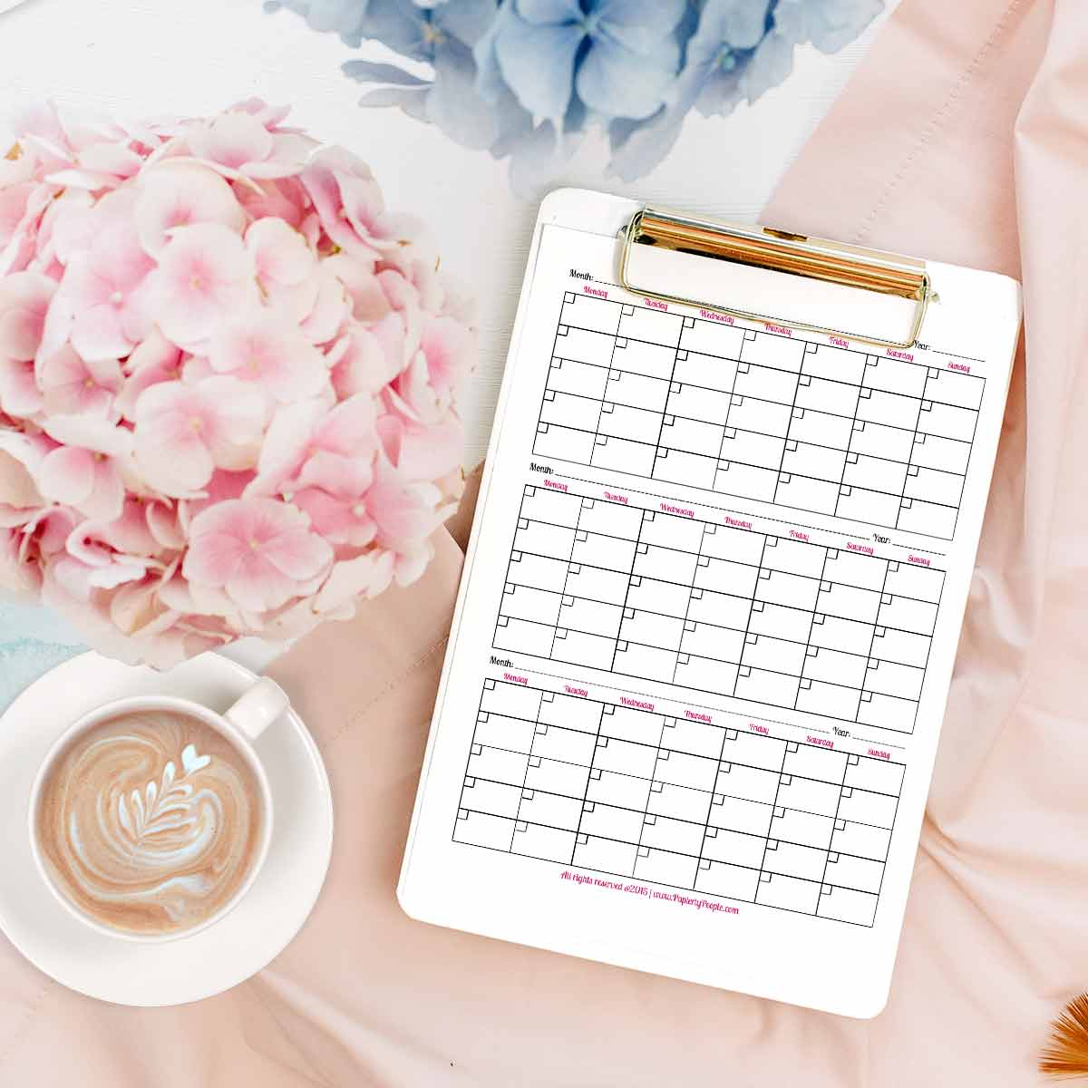 3 Month Calendar Page - Printable planner pages for Staples ARC Notebook or 3 Ring Binders.