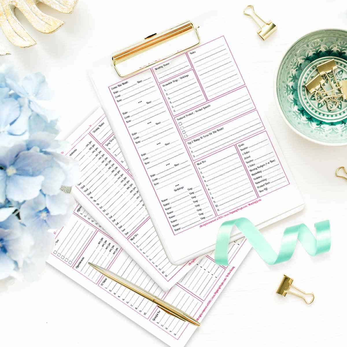 Business Calendar Kit - Printable planner pages for Staples ARC Notebook or 3 Ring Binders.