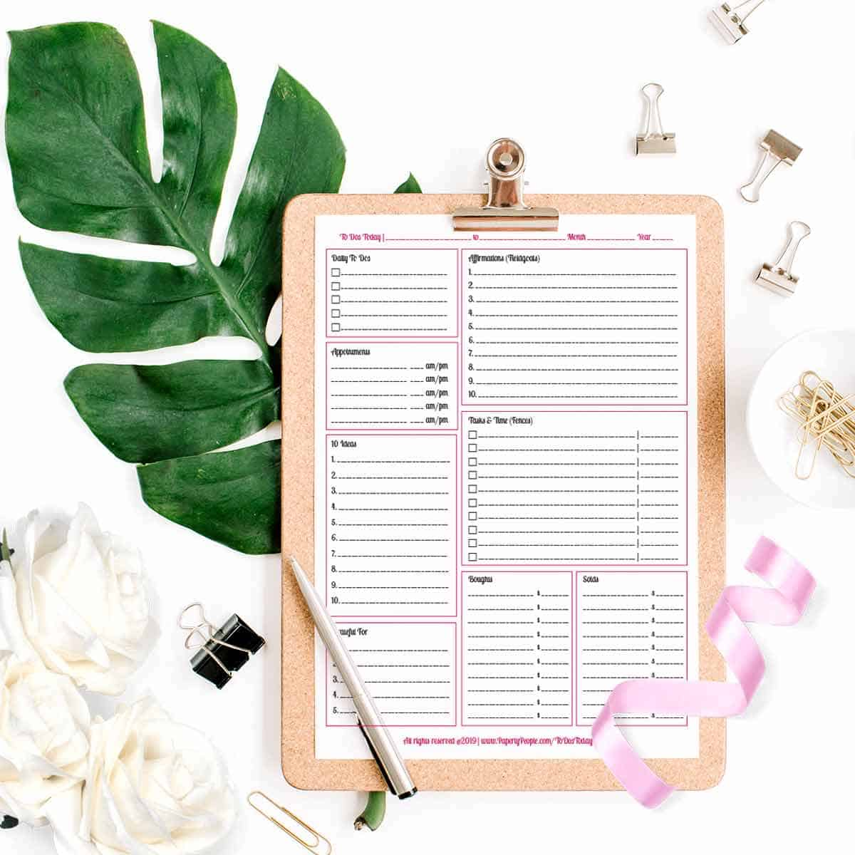 Daily Planner Pages and Goals - Printable planner pages for Staples ARC Notebook or 3 Ring Binders.