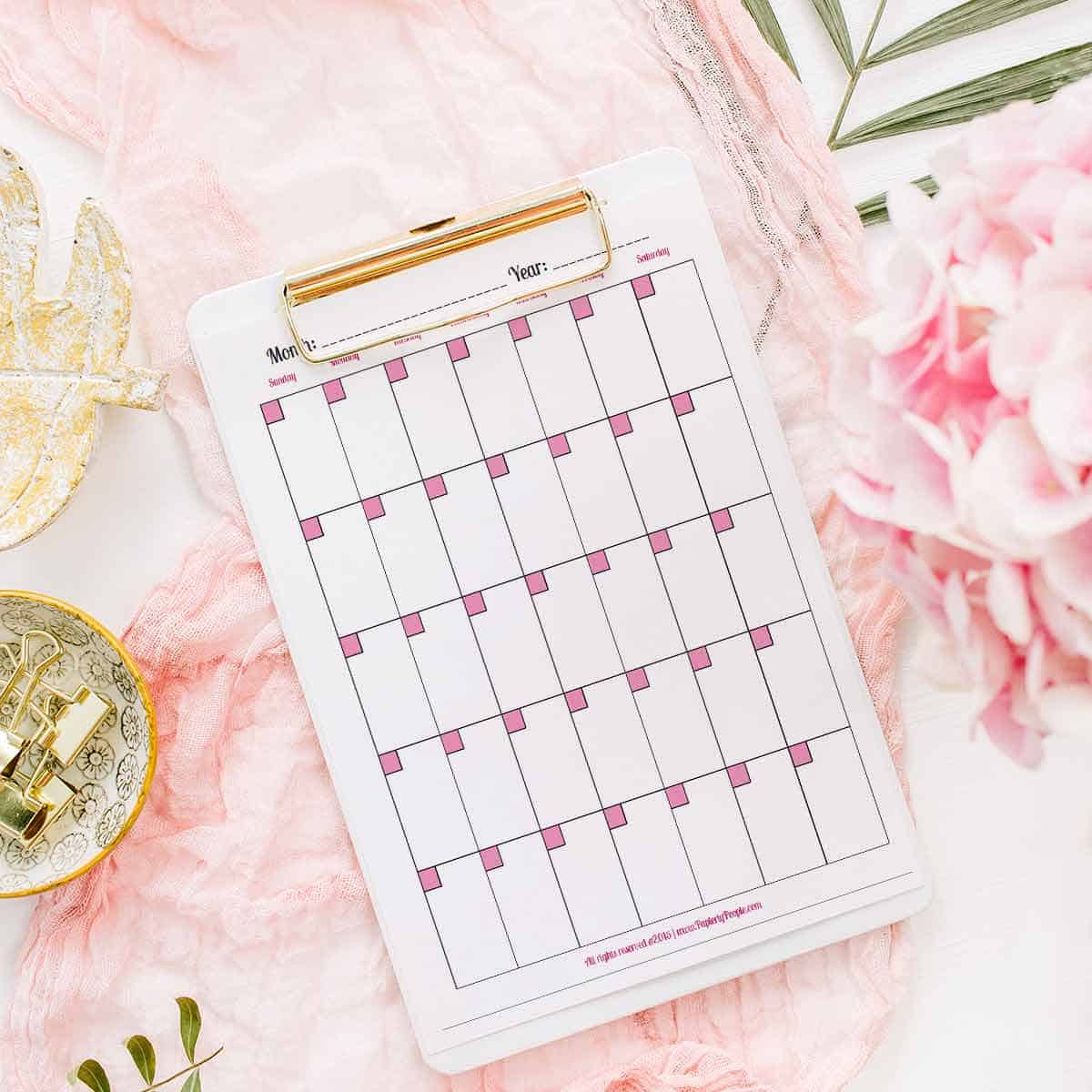 Monthly Calendar Page - Printable planner pages for Staples ARC Notebook or 3 Ring Binders.
