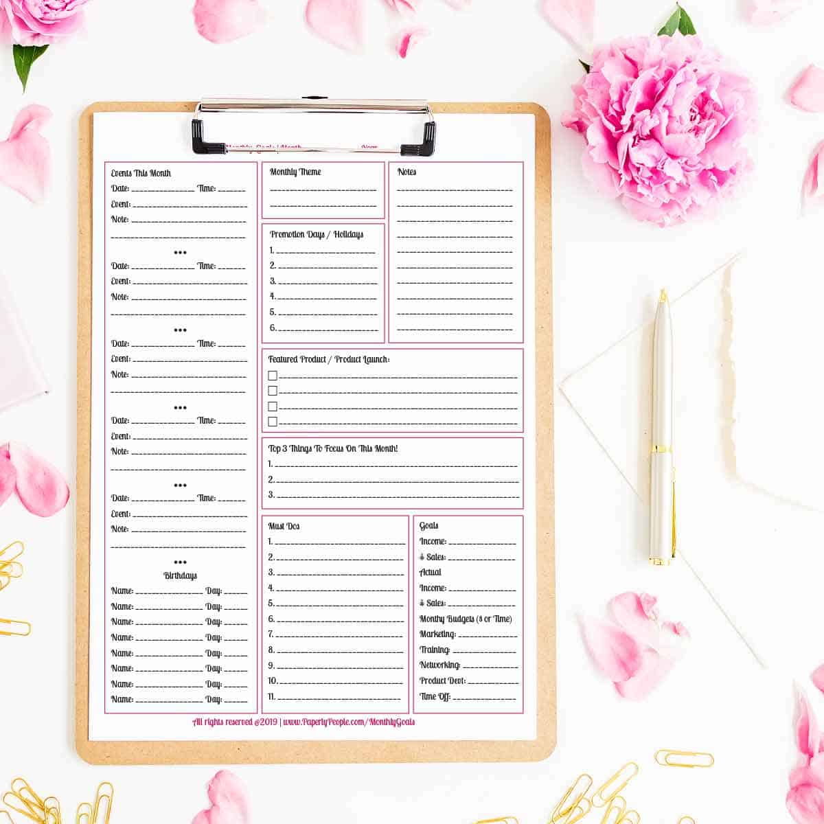 Monthly Planner Pages and Goals - Printable planner pages for Staples ARC Notebook or 3 Ring Binders.
