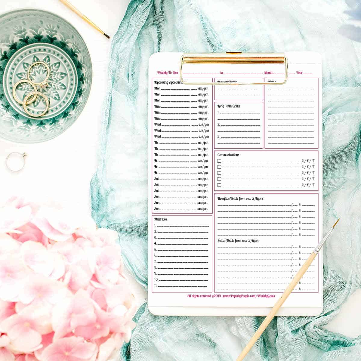 Weekly Planner Pages and Goals - Printable planner pages for Staples ARC Notebook or 3 Ring Binders.