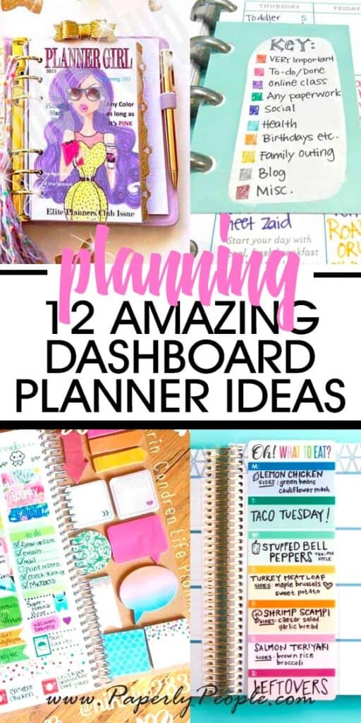 Collage picture of planner dashboard ideas